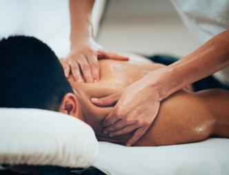 A man receiving a massage