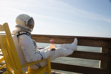 Spaceman Relaxes on the Cocoa Beach Pier