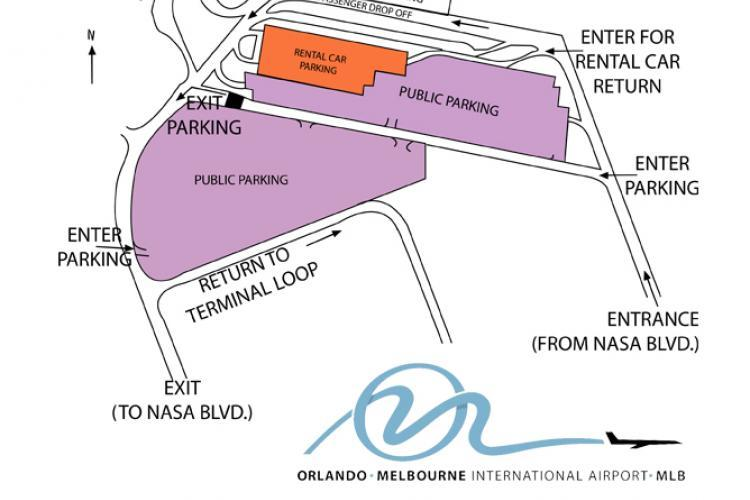 Map of the Orlando Melbourne International Airport