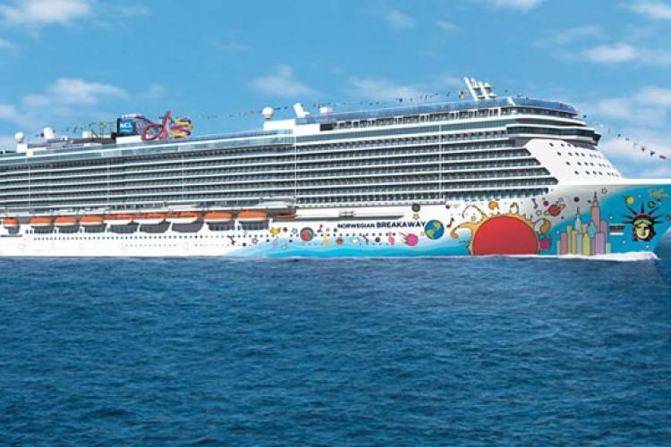 View from the water of the Norwegian Breakaway cruise ship
