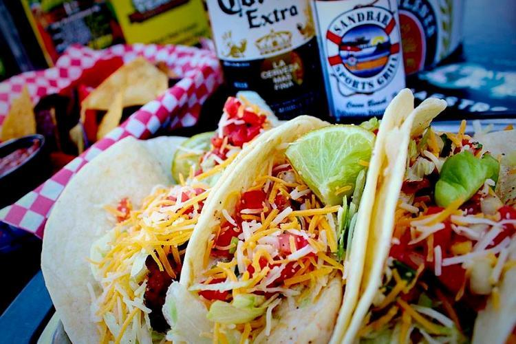 Tacos and beer at Sandbar Sports Grill in Cocoa Beach, FL