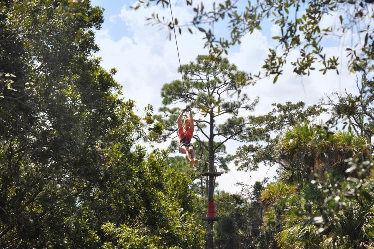woman on a zip-linging high in trees