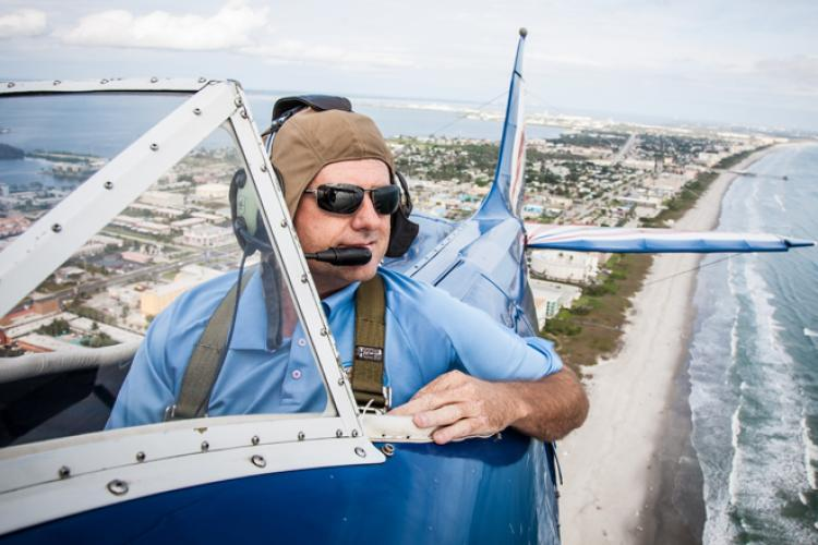 An aerial biplane tour of Cocoa Beach